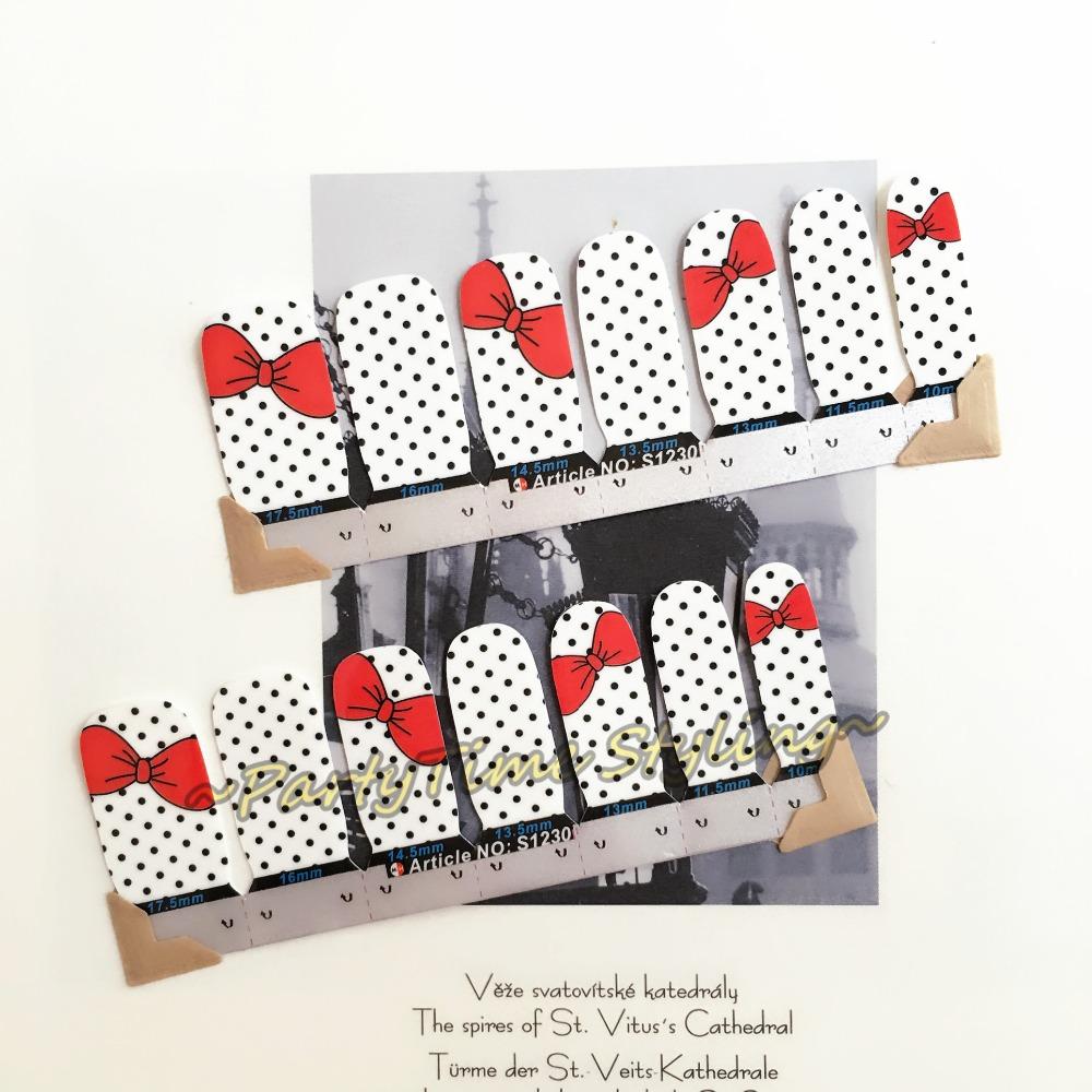 Cute Kitty Red Bowknots Nail Art Sticker Patch 14 pcs set Waterproof Decals Foils Gel Polish