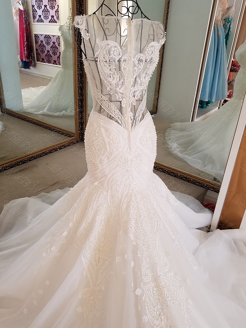 LS17006 Sexy mermaid wedding dress see through back cap sleeves tulle lace wedding gowns 2017 robe de mariee sirene 4