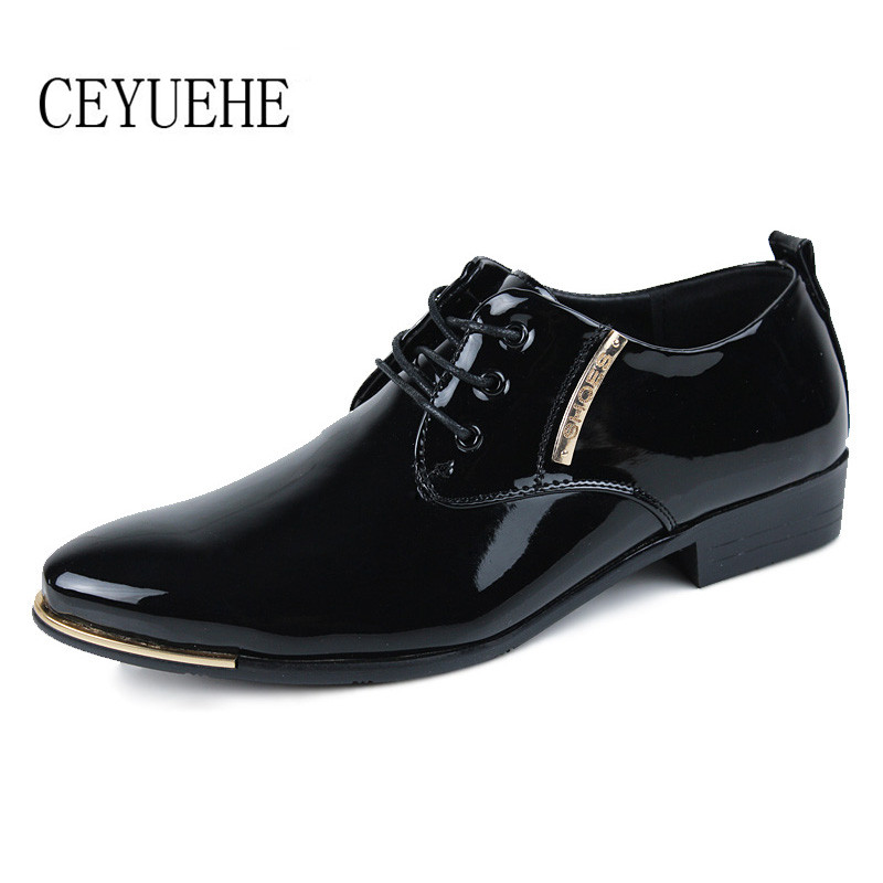3db55660e717 Formal Shoes Men Flat Black Dress Shoes Patent Leather .