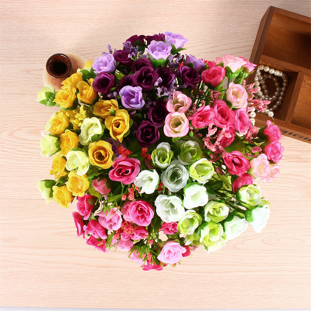 1Set 21 Heads Spring Fake Silk Flowers Artificial Rose Bridal Plant Bouquet Table Home Decor