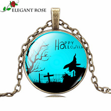 Halloween Witch Double C Fashion Statement Necklace 2015 Jewelry Pendant Cabochon Glass Pocket Watch Necklace Women xx0019