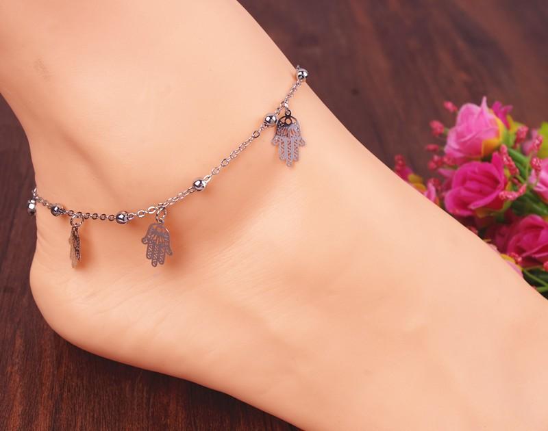 17b7b5381c568 Hot sale fashion hamsa fatima hand anklet beach foot jewelry ankle ...