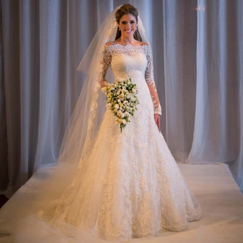 New Elegant Ball Gown Long Sleeve Bridal Gowns Lace Off