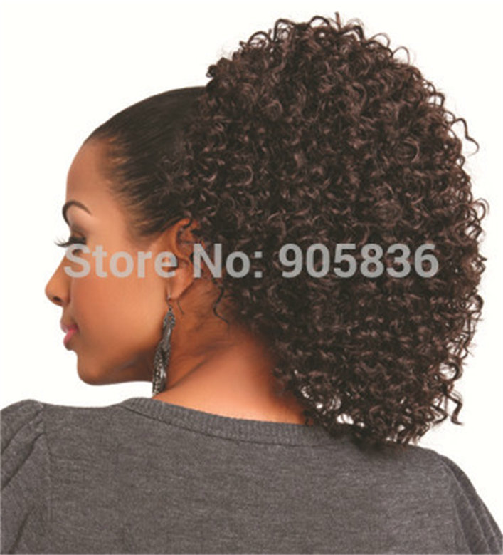 Clip In Brown Kinky Curly Virgin Hair Drawstring Ponytail