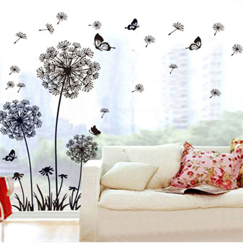 Wall Sticker Decal Home decor Creative Dandelion Butterfly Stickers Removable Mural PVC