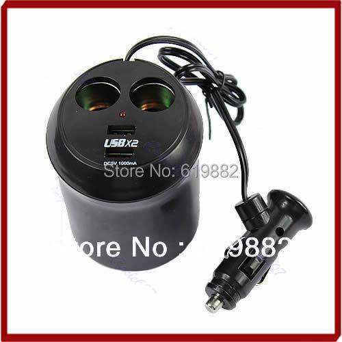 A31 бесплатная доставка USB зарядное гнездо автомобильного прикуривателя обладатель кубка двойной адаптер питания горячая распродажа
