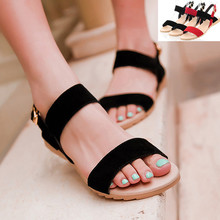 Large size 40 43 Ladies Sandals Beach Wedge Sandals Mixed Color  Women Fashion Comfort Black Shoes Red Low Heels AAB-0A