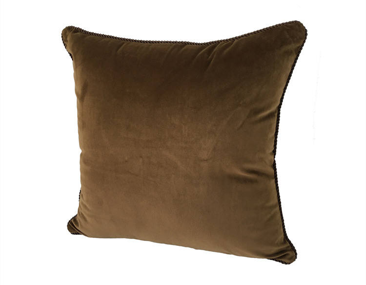 Solid Chocolate Dull Velvet Cushion Cover Rope Pipping Decorative