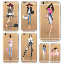 Girl Dress Shopping Fashion Phone Bag For iPhone 4 4S 5 SE 5S 6 6S 6(s)Plus Transparent Soft TPU Modern Sexy Girls Case Cover