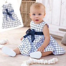 Baby Toddler Girl Kids Cotton Outfit Clothes Top Bow knot Plaids Dress 0 3 Years
