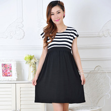 Maternity Dress Casual Cotton Summer Dress Maternity Wear Plus Size Patchwork Stripe Pattern Pregnancy Dress Vestido