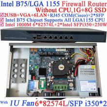 mikrotik hotspot 1U network router server with Six 1000M 82574L Gigabit NIC two intel i350 SFP fiber ports NO CPU 1G RAM 8G SSD
