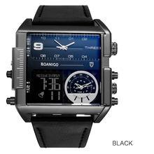 Мужские крупные военные наручные часы BOAMIGO, черного цвета, кварцевые, спортивные, с кожаным ремешком, с 3 часовыми поясами и светодиодным дис...(Китай)