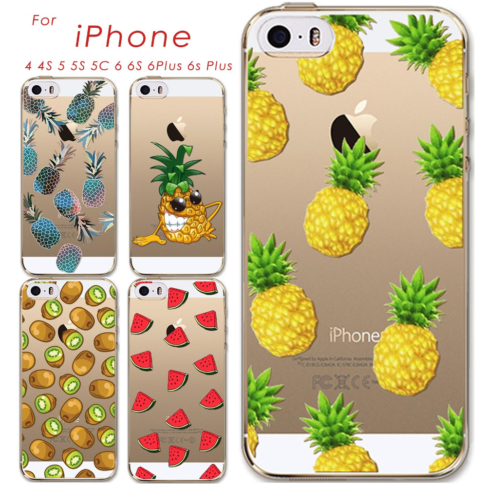 Thin Soft TPU Silicon Transparent Fruits Watermelon Pineapple Kiwi Case Cover For Apple iPhone 4 4S