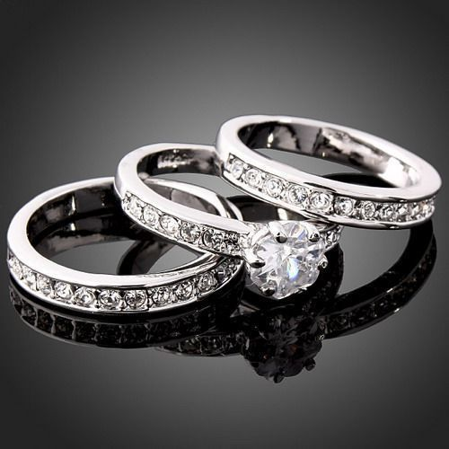 2015 christmas gift ring for wedding engagement festival jewelry bijoux Stylish 3 in 1Crystal rings