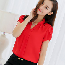375527ded08 2019 Summer Women Chiffon Blouse Short Sleeve Red Ladies Office Ladies  Shirts Plus Size Work Top