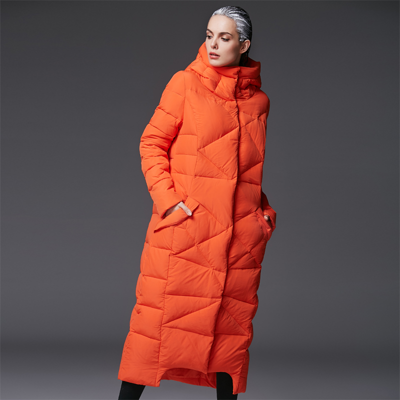 effa89fb5 women s extra long parkas for women winter coat warm quilted down jackets  luxury brands design thickened orange hooded black