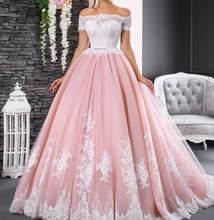 Великолепные Розовые Свадебные платья с кружевной аппликацией, бальное платье с вырезом лодочкой, платье невесты с открытыми плечами и кор...(China)