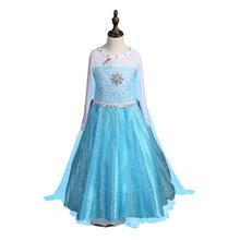 2016 Estilo Verão Vestido Da Menina de Vestido de Princesa Elsa Rainha da Neve Das Crianças Dia Das Bruxas Cosplay Traje Da Criança Do Bebê Roupa Dos Miúdos meninas
