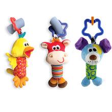 2016 Brinquedos Do Bebê Chocalho Tilintar do Sino de Mão Carrinho De bebê Crianças Brinquedos de Pelúcia Bonito Fawn Animal Cão Pato Brinquedo Do Bebê