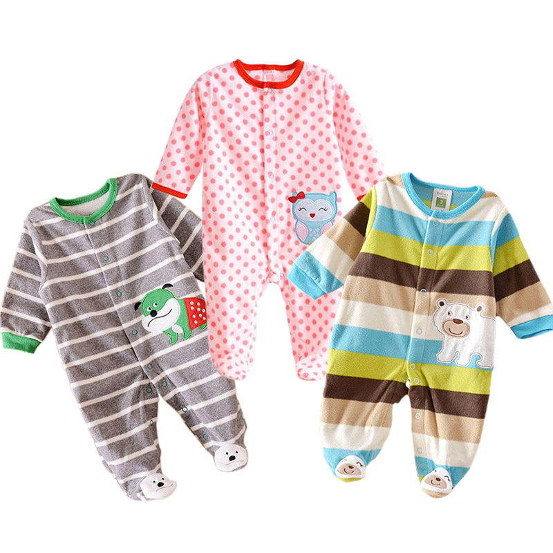Spring/Autumn/Winter Baby Rompers Clothes Newborn Boy Girl Polar Fleece Baby Jumpsuit Clothing
