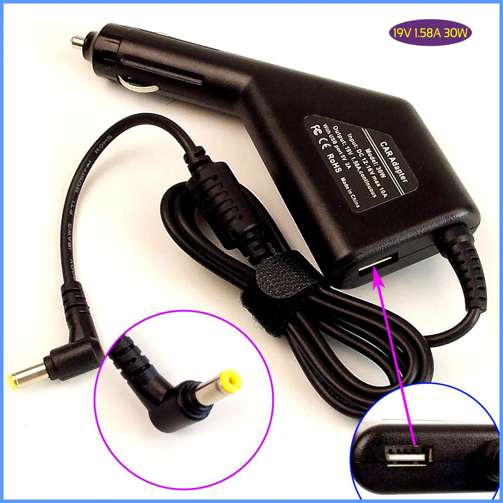 19V 1.58A Laptop Car DC Power Adapter Charger + USB for