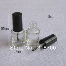 200pcs/lot 5ml Empty Nail polish Bottle / Transparent Glass Packing Bottle with Black Brush Cap