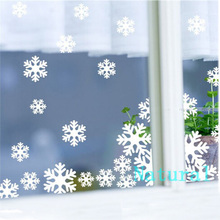 18pcs/lot White and Blue Plastic Christmas Snowflake Sheet Ornament Merry Xmas Wall Window Sticker Paper-Cutting Free Shipping