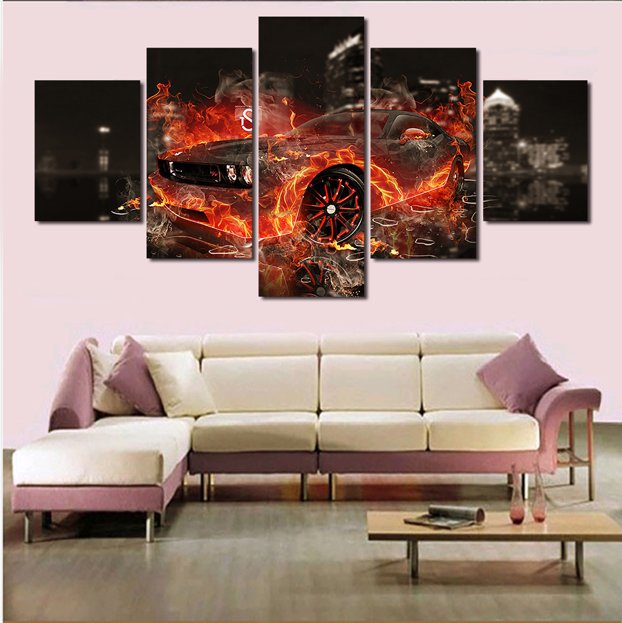 5 Pcs Cool Car Free Shipping Large Canvas Print Painting For Living Room, Wall Art Picture Gift,Decoration Home Picture Unframed