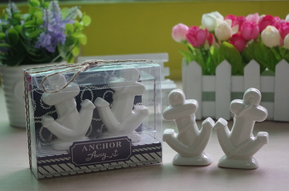 "Wedding Return Gift Ideas: ""Anchors Away"" Ceramic Salt And Pepper Shakers Wedding"