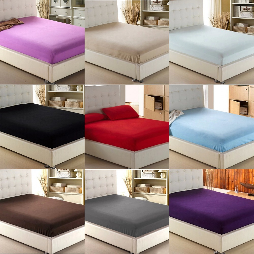 Home Textile Solid Color Sheets Fitted Bed Sheet Elastic