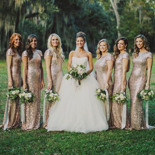 Gold Bridesmaid Dresses Sequin