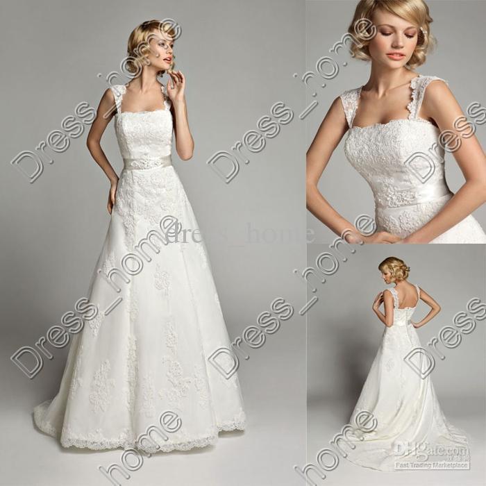 Simple Elegant Wedding Dresses With Sleeves: Wholesale-Newest-Simple-Design-Elegant-Bridal-Dress-A-Line