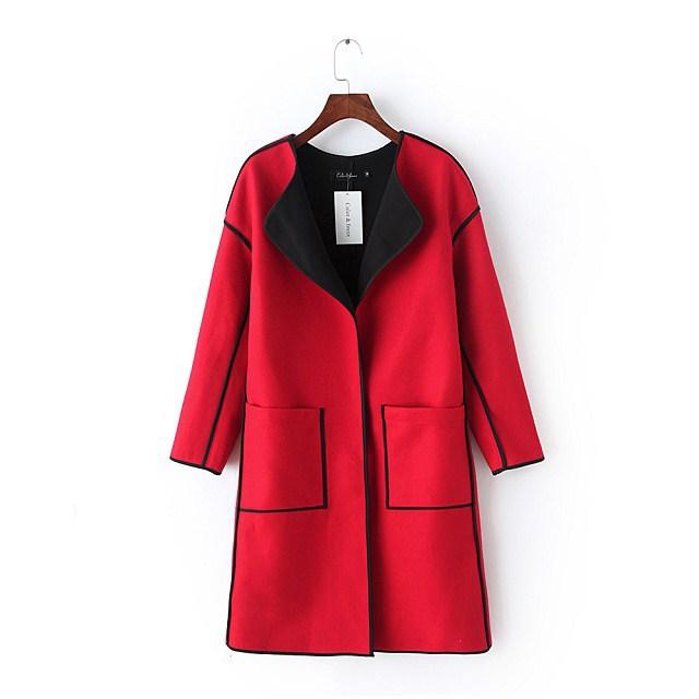 Европейский стиль осень и зима средний - длинная рукавами шерстяная ткань куртка верхняя одежда для женщины
