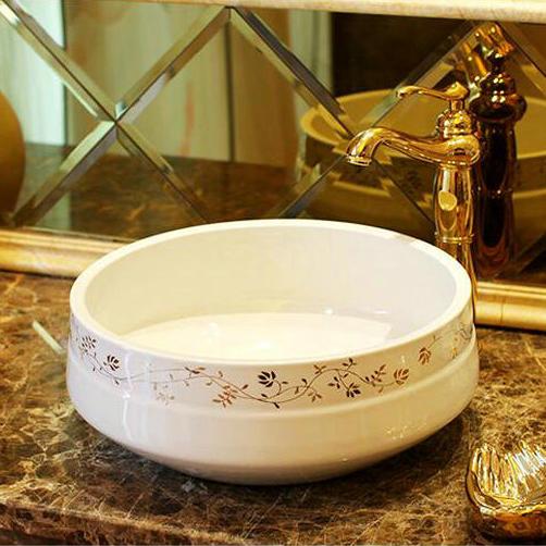 White Porcelain Golden Flower Liner Countertop Lavabo ...