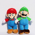 Free Shipping 2pcs set Super Mario Bros MARIO LUIGI Plush Doll Stuffed Toy 9 inch