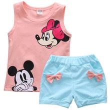 Новогодняя одежда для маленьких детей с Минни Маус, комплект для девочек из 2 предметов, футболка, Топы + штаны/платье, комплекты детской одеж...(Китай)