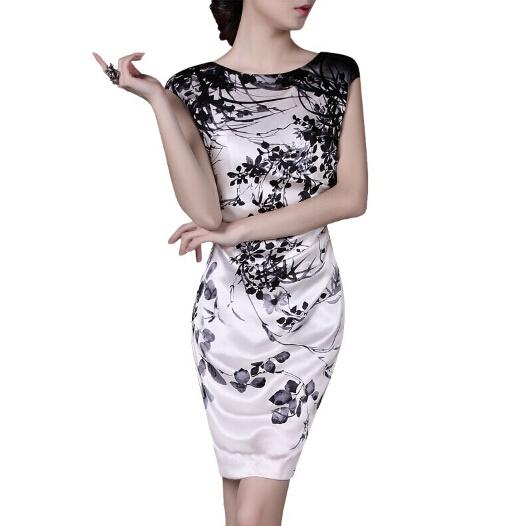 2015 Большой размер 4XL женщин пинта тонкий элегантное платье без рукавов летом шелковое платье Q331