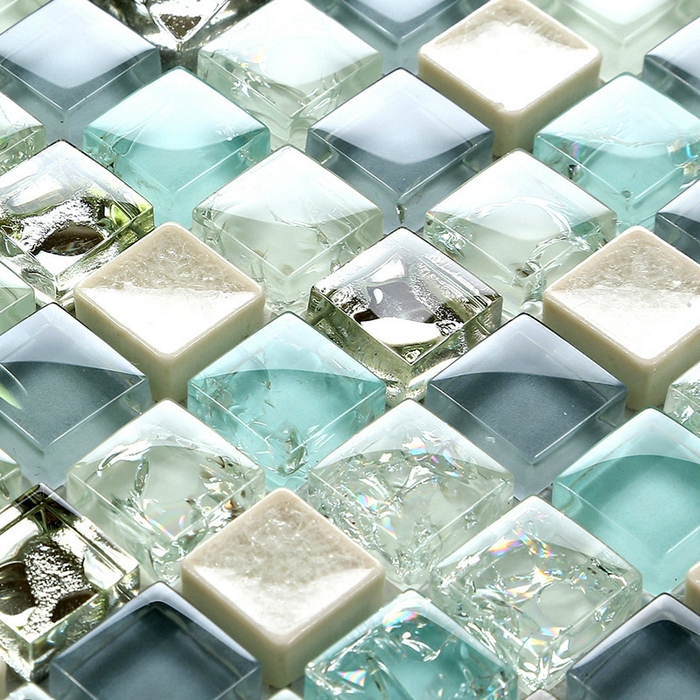 Pool Bathroom Colors: Mini 15*15mm Blue Color Crystal Glass Mosaic Tiles For
