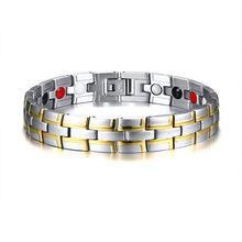 ZORCVENS исцеляющий магнитный браслет для мужчин из нержавеющей стали 4 элемента Био энергия здоровье браслет цепочка на руку аксессуары(Китай)