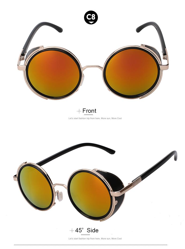 79b7e12b50 Wholesale- XIU Sunglasses Steampunk Men Sunglass Retro Vintage Round ...