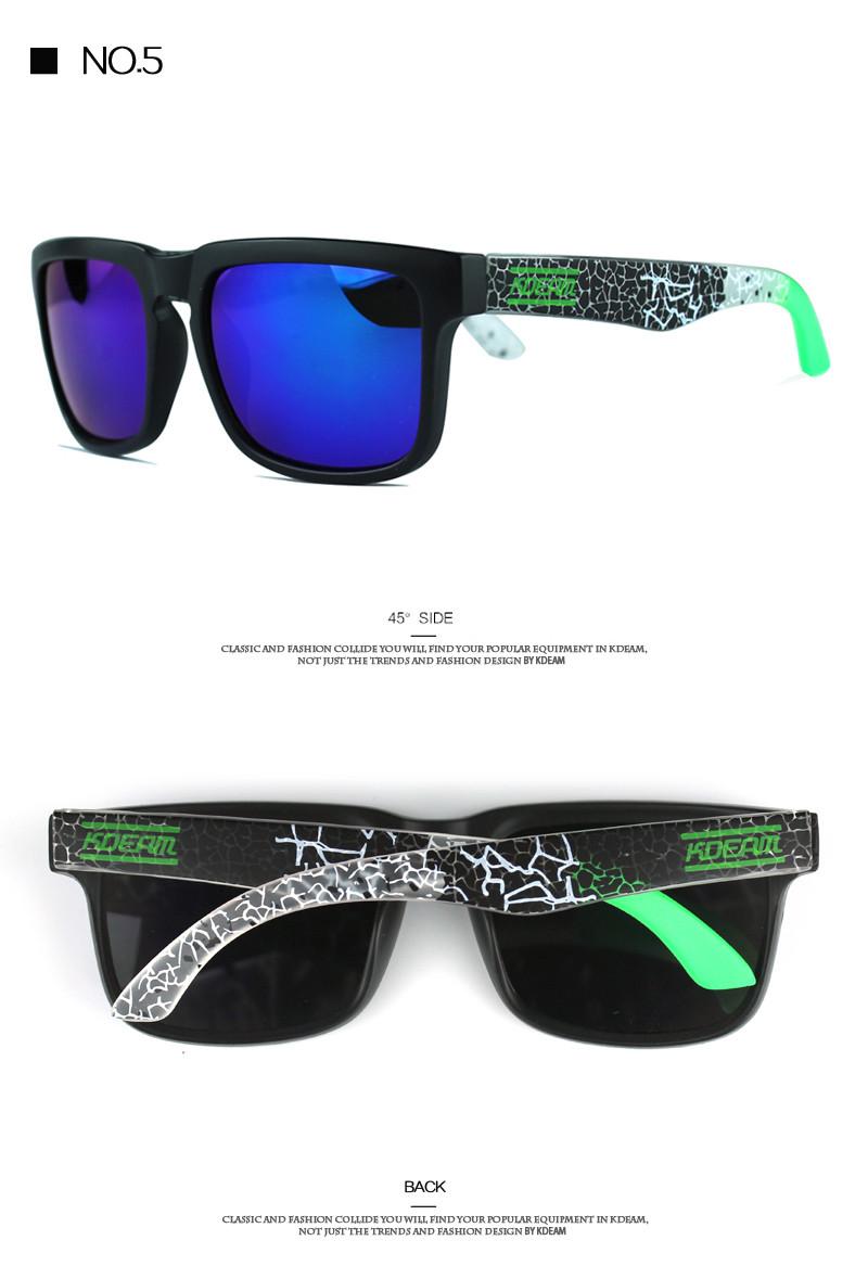 Kdeam Sport Sunglasses Men Reflective Coating Square Sun