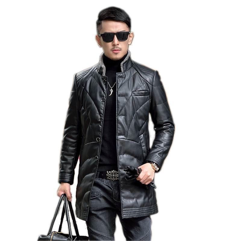 d690299b3c8 2019 Batmo 2017 Man S Fashion Winter PU Leather Coat Trench Clothing ...
