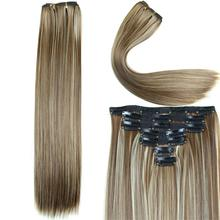 Long Straight Hair Extension 23inch 160g 16 Clips 7pcs/set Synthetic Clip in Hair Extensions Heat Resistant Multicolor Hairpiece