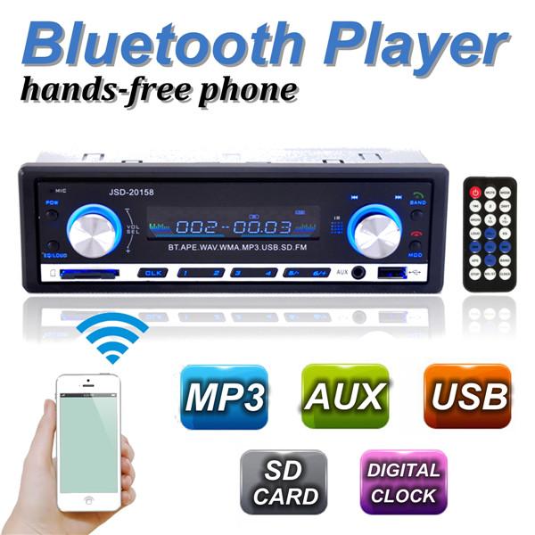 12 V BLUETOOTH 1-дин стерео радио MP3 USB / SD AUX аудио плеер автомобиль в-dash 60Wx4 для телефон