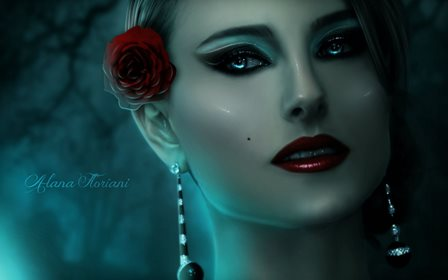 Gothic Face Glance Red lips Earrings Fantasy Girls Home Decoration Canvas Poster