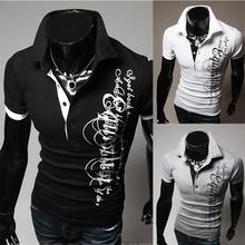 T-Shirt Mens 2016 Men'S Fashion Color Printing Shirt Short-Sleeve T Shirt Men Slim Men T-Shirt Sports Tshirt Homme XXXL S334q