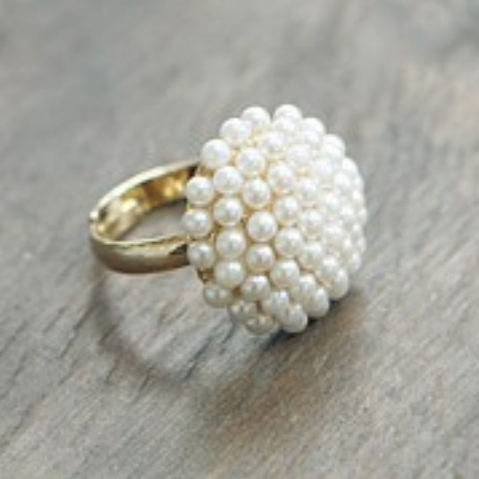 LZ Jewelry Hut R184 The 2016 New Wholesale Fashion Full simulated pearl Adjustable Rings For Women