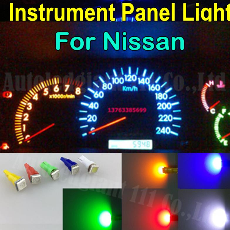 25pieces T5 Led Smd 73 74 286 Wedge Red Blue Green Yellow White Car Gauge Dash Sdo Light Dashboard Instrument For Nissan