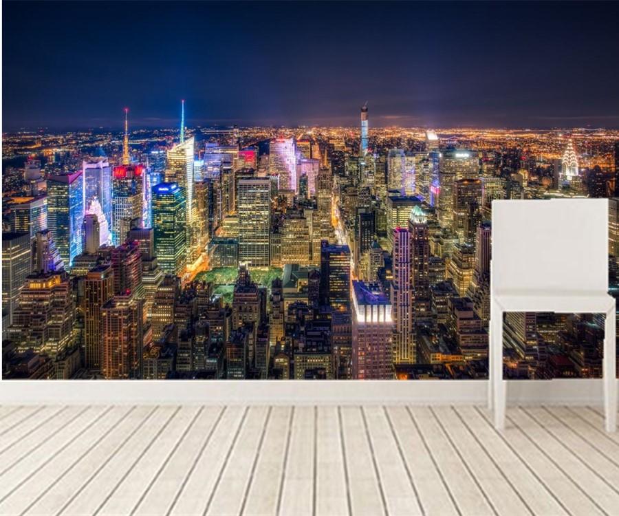 Custom 3d Murals,USA Skyscrapers New York City Megapolis
